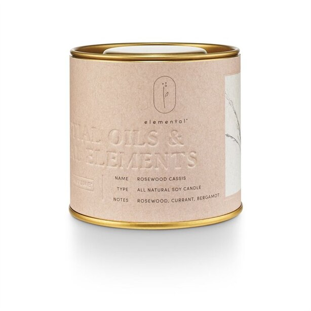 ELEMENTAL TIN CANDLE ROSEWOOD CASSIS