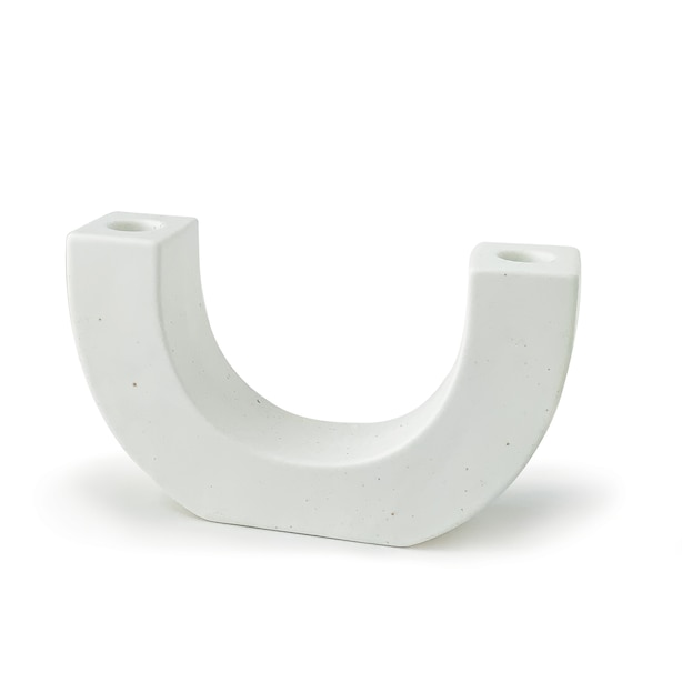 PADDYWAX U SHAPE CERAMIC TAPER CANDLE HOLDER WHITE SPECKLE