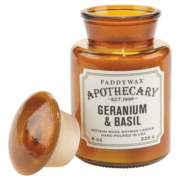 Paddywax® Apothecary Glass Candle – Geranium & Basil