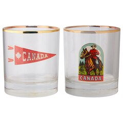 CANADIAN PENNANT AND VINTAGE MOUNTIE GLASSES – SET OF 2