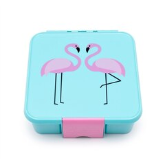LITTLE LUNCHBOX CO. KIDS BENTO BOX, THREE COMPARTMENT, FLAMINGO