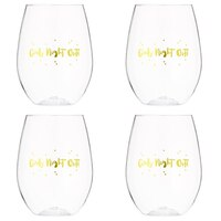 Slant Collections Girls Night Out Stemless Wine Glasses – Set of 4