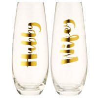 Slant Collections Wifey & Hubby Stemless Champagne Glass – Set of 2