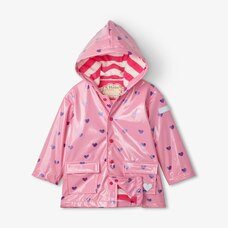 Hatley Scattered Hearts Raincoat Size 2