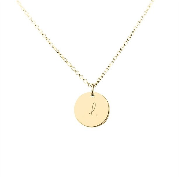 10K YELLOW GOLD 'L' INITIAL DISC PENDANT
