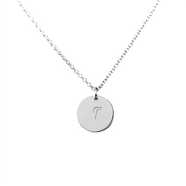 STERLING SILVER 'T' INITIAL DISC PENDANT