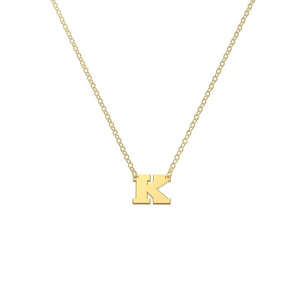 10K Yellow Gold 'K' Initial Letter Necklace