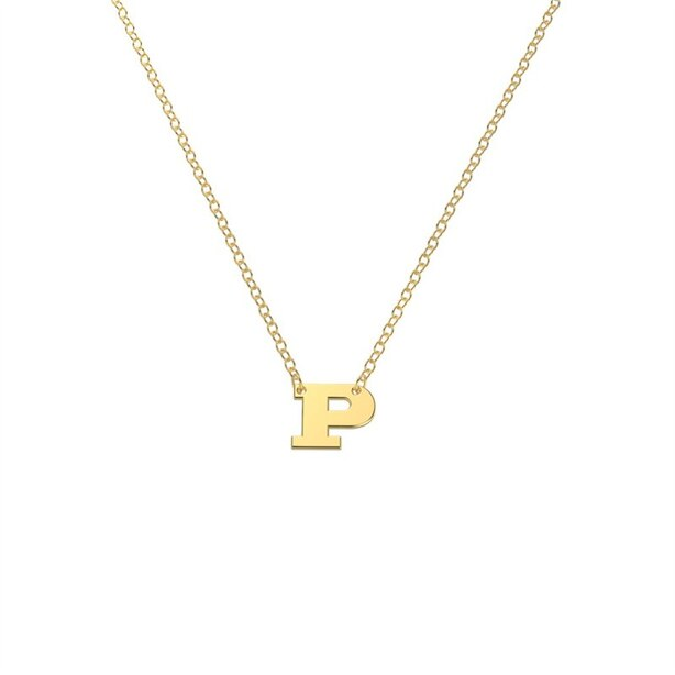10K Yellow Gold 'P' Initial Letter Necklace