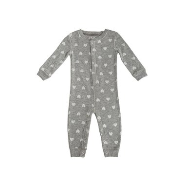 PJ Salvage® Baby ROMPER Thermal Hearts HEATHER GREY Small 3 to 6 Months