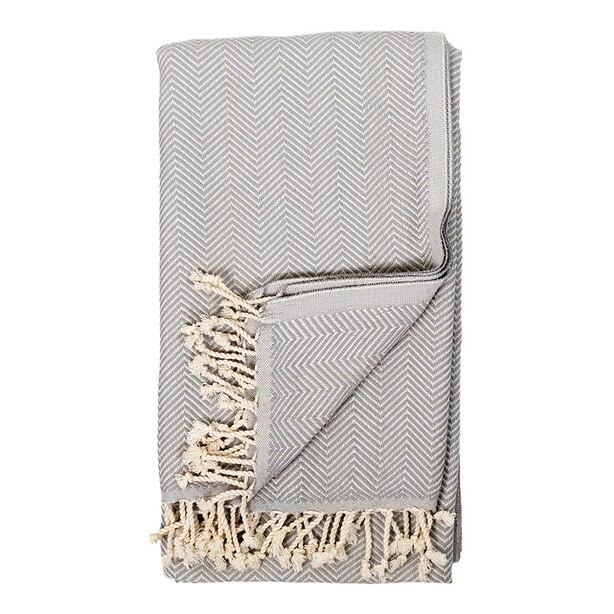 Pokoloko Herringbone Turkish Towel   Gris by Pokoloko