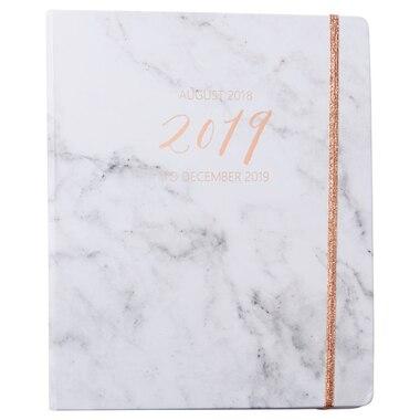 2018-2019 17-Month Large Hidden Spiral Agenda - White Marble