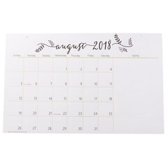 2019 17-Month Oversized Tearaway Wall Calendar - Black & White Calligraphy