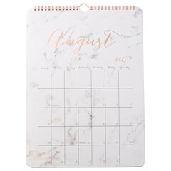 2019 17-Month Oversized Wall Calendar - White Marble