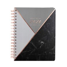 2019-2020 17-Month Medium Planner Black Marble