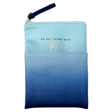 PENCIL POUCH LARGE SOFT FOCUS OMBRE BLUE