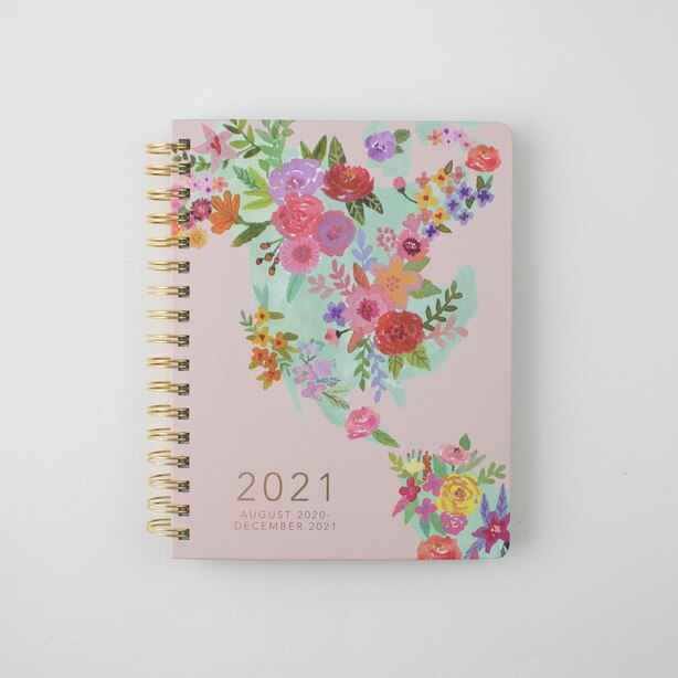 2020-2021 17-MONTH AGENDA MEDIUM FLORAL MAP