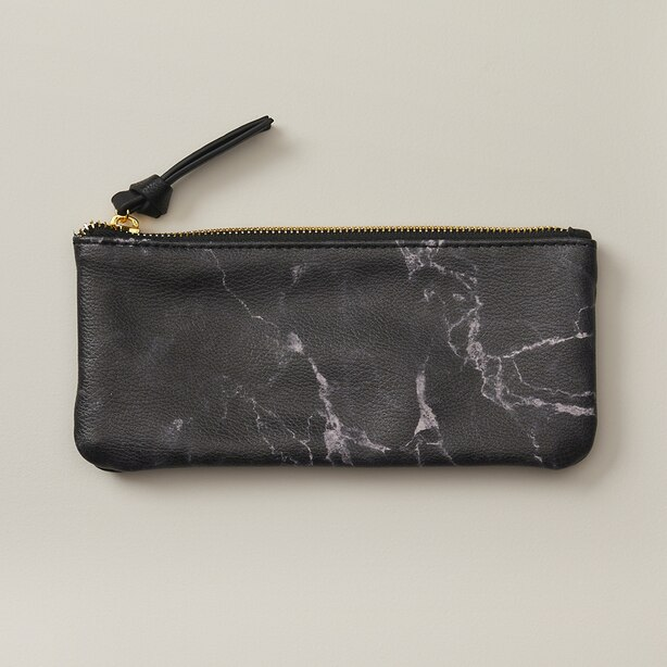 MARBLE PENCIL POUCH SMALL BLACK