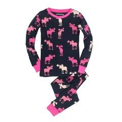 Long Sleeve Pajama Set, Raspberry Moose Size 6