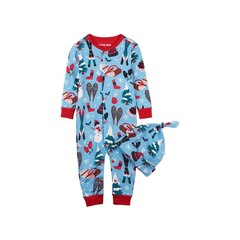 INFANT COVERALL & CAP, BLUE HOLIDAY 6-12 MONTHS