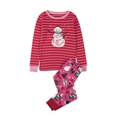 Long Sleeve Pajama Set - Pink Vintage Holiday - 2