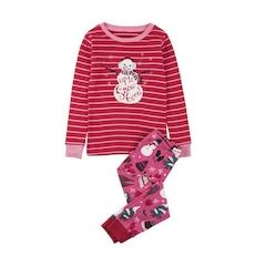Long Sleeve Pajama Set - Pink Vintage Holiday - 4