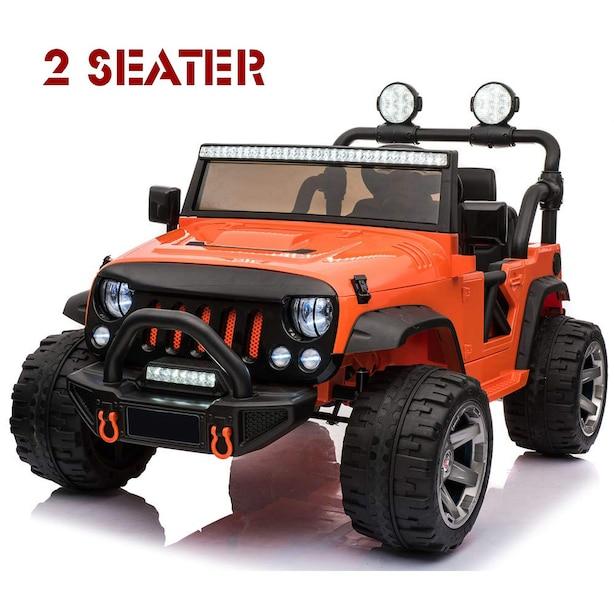 Ride On Car, 12V Kids Motorized Car Truck with 2 Seater, Full LED Lights, Parental Remote Control, MP3 Player, 3 Speeds, Handle Bar and Caster Wheel (ORANGE)