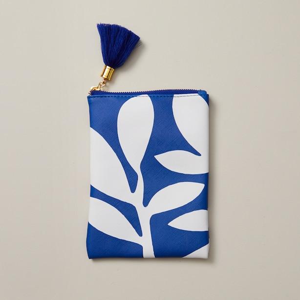 LARGE PENCIL POUCH BOHO BRIGHT PALM BLUE