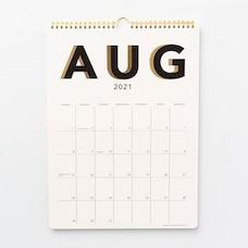 Aug 2021 - Dec 2022 17 Month Spiral Black Shadow Calendar