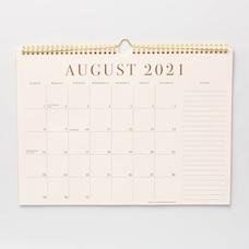 Aug 2021 - Dec 2022 17 Month Spiral Gold and White Calendar