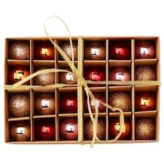 Christmas Mini Ball Ornaments – Warm Palette, Set of 24