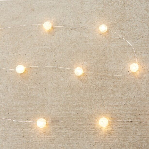 Crackled-Bead LED 30-Light Indoor/Outdoor Strand – Warm-White, 120""