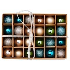 Christmas Mini-Ball Ornaments – Cool Palette, Set of 24