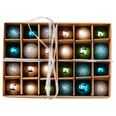 Christmas Mini-Ball Ornaments – Cool Palette, Set of 24