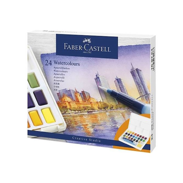 FABER CASTELL CREATIVE STUDIO WATERCOLOURS SET OF 24