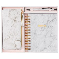 Gift Box Journal Pen Pouch Marble White