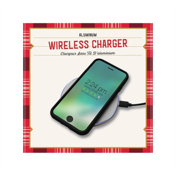 WIRELESS CHARGING PAD WHITE LEATHERETTE