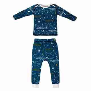 Nest Designs® Pajama Set Organic Cotton Stars Blue Size 2T