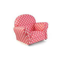 Upholstered Chair with Slip Cover - Pink with White Polka Dots