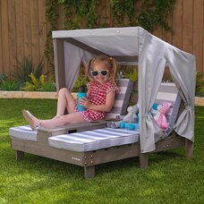 KidKraft Double Chaise Lounge with Cup Holders - Grey