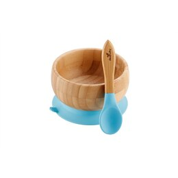 AVANCHY STAY-PUT BABY BAMBOO SUCTION BOWL+SPOON, BLUE