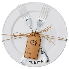 Mud Pie Mr. & Mrs. Plate & Fork Set