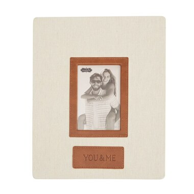 You Me Frame Linen Leather 11 X 9 By Mud Pie Desk Frames