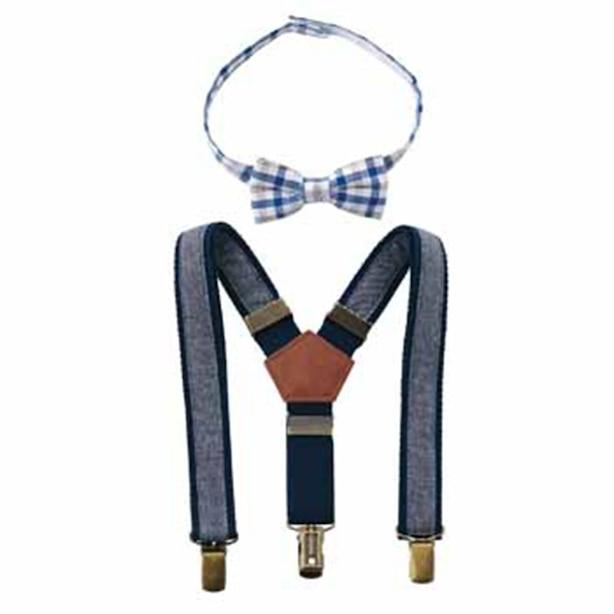 Mud Pie Bow Tie Suspender Kit Chambray