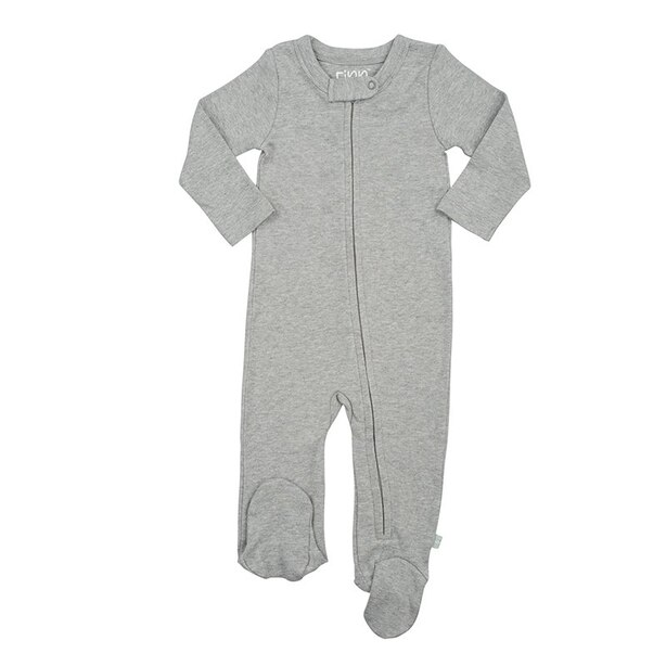 100% Organic Solid Footie - Size 3 - 6 Months - Grey