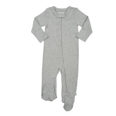 100% Organic Solid Footie - Size 9 - 12 Months - Grey