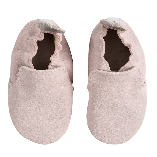 Robeez Soft Soles Leather Shoe with Suede Sole - Pretty Pearl Pink Baby 12-18 Months