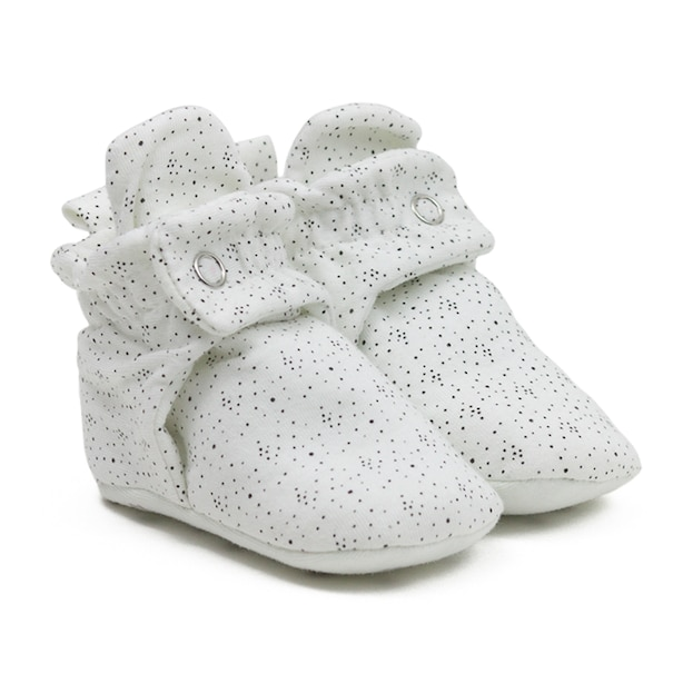Robeez Snap Booties - White Speckle Baby 6-12 Months