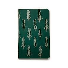 Carnet Sapins Vert forêt & cuivre Ligné