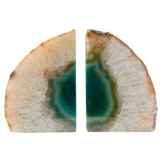 BOOKENDS GREEN AGATE