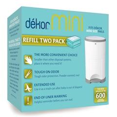 Dékor® Diaper Disposal Bin Refill Bag Mini 2-Pack